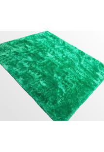 Tapete Saturs Shaggy Pelo Alto Verde - 120 X 200 Cm Tapete Para Sala E Quarto