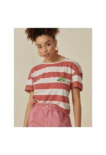 Amaro Feminino T-Shirt Folhagem Maritaca, Listras Vermelho