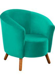 Poltrona Decorativa Angel Suede Verde Tiffany Com Pés Palito - D'Rossi