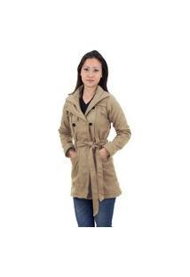 Casaco Trench Coat Acolchoado Feminino Inverno Bege