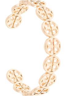 Tory Burch Bracelete Com Logo Frozen - Dourado