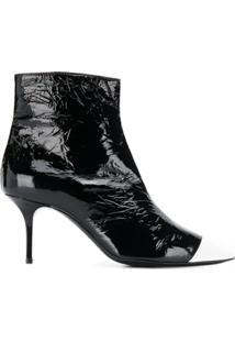 Msgm Ankle Boot Bicolor Com Efeito Amassado - Preto
