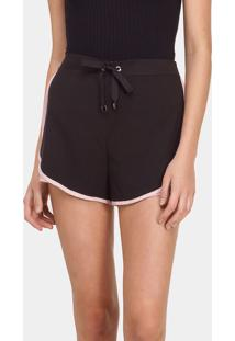 Shorts Cintura Alta Recorte Preto Reativo - Lez A Lez