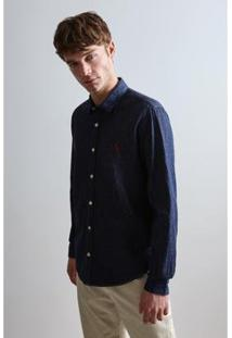 Camisa Reserva Cont. Ae Easy Oxford Denim Ml Masculina - Masculino