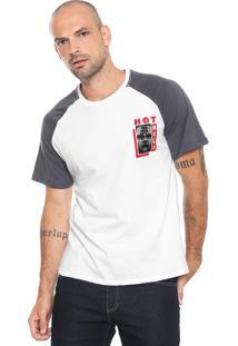 Camiseta Fiveblu Raglan Branca/ Cinza