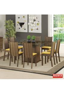 Mesa De Jantar 8 Lugares Camila Rustic/Palha - Madesa Móveis
