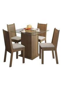 Conjunto Sala De Jantar Madesa Lucy Mesa Tampo De Vidro Com 4 Cadeiras Rustic/Pérola Rustic/Pérola