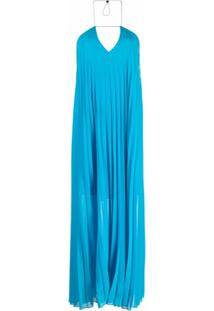 Patrizia Pepe Vestido Com Pregas - Azul