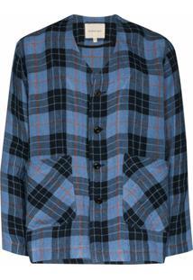 Nicholas Daley Camisa De Algodão E Linho Xadrez - Azul