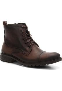 Bota Coturno Shoestock Couro Tratorada Masculina - Masculino-Café