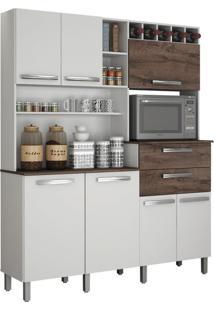 Cozinha Compacta Monte Rey 7 Pt 2 Gv Branco Castanho