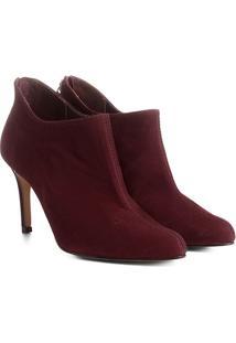 Bota Couro Cano Curto Shoestock Ondas Salto Alto Feminina - Feminino-Vinho
