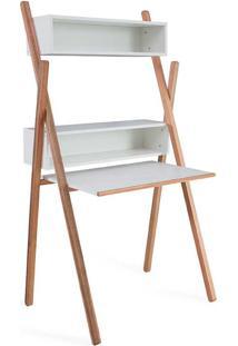 Mesa Para Computador Escrivaninha Branca Design Com Estante E Nichos Sue Woodinn - 87X62X158 Cm
