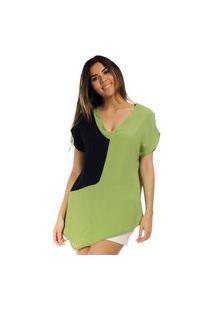 Blusa Assimétrica Viscose Bicolor Verde & Preto