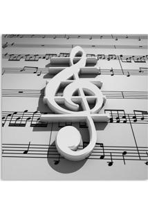 Quadro Nota Musical Uniart Branco 30X30Cm