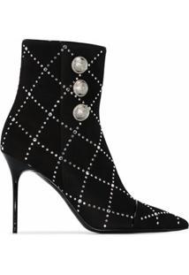 Balmain Ankle Boot Com Aplicação De Tachas E Salto 105Mm - 0Pa 0Pa/Noir