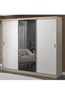 Guarda-Roupa Casal 3 Portas Com 1 Espelho 100% Mdf 1902E1 Marfim Areia/Branco - Foscarini