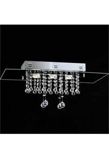 Plafon Cristal Retangular Vidro Preto Ref: 75-3 Gu10