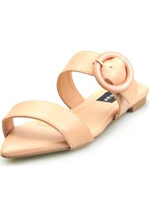 Sandalia Love Shoes Rasteira Bico Folha Básica Fivela Abs - Tricae