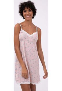 Camisola De Alcinha Com Estampa Floral E Renda