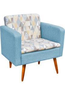 Poltrona Decorativa EmãLia Compos㪠Linho A17 Com Linho Azul Petrã³Leo A58 - D'Rossi - Multicolorido - Dafiti
