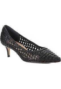 Scarpin Couro Shoestock Salto Médio Tressê - Feminino-Preto