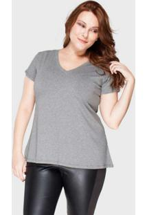 Camiseta Decote V Evasê Plus Size Grafite Cinza