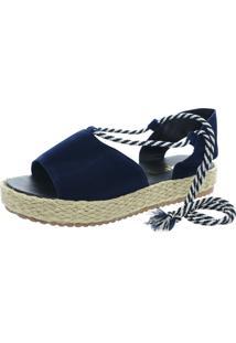 Sandalia Mariha Calçados Flatform Tira Azul Marinho