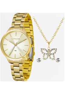Kit Relógio Feminino Strass Lince Lrg4602L Kv92C1Kx