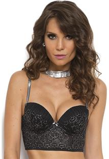 Top Preto Com Bojo Push Up De Renda Black Shine De Chelles