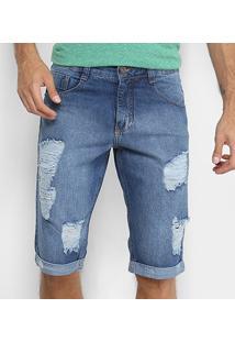 Bermuda Jeans Biotipo Destroyed Barra Dobrada Masculina - Masculino