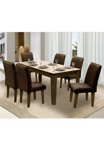 Mesa Para Sala De Jantar Saint Michel Com 6 Cadeiras – Dobuê Movelaria - Castanho / Bege / Chocolate