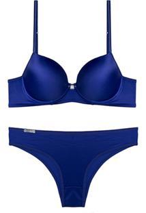 Conjunto Femina Lingerie Sutiã Convencional Calça Alta Azul
