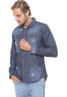 Camisa Jeans Colcci Reta Destroyed Azul