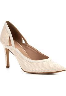 Scarpin Shoestock Snake Recortes Salto Alto - Feminino-Off White