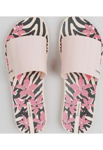 Chinelo Slide Feminino Ipanema Estampado Animal Print Rosê