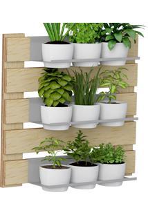 Jardim Vertical Com 3 Prateleiras E 9 Cachepot 1008 Green Amadeirado - Bentec
