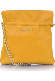 Bolsa Saco Em Couro Amarelo Com Alça Dourada
