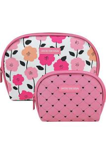 Kit De Nécessaires Floral- Rosa & Branco- 2Pçs- Jacki Design
