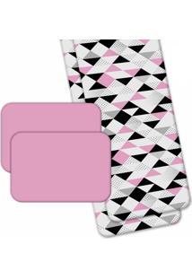 Jogo Americano Love Decor Wevans Com Caminho De Mesa Triângulos Rosa - Kanui