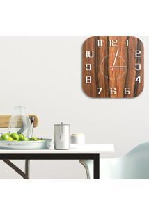 Relógio De Parede Decorativo Premium Quadrado Com Números Em Relevo Amadeirado Médio