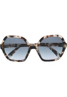 Prada Eyewear Óculos De Sol Hexagonal - Marrom