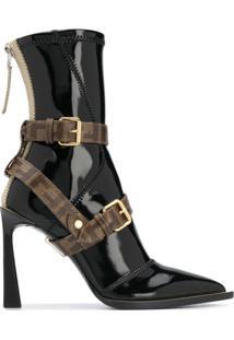 Fendi Ankle Boot Com Alças Cruzadas Ff - Preto