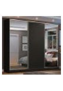 Guarda Roupa Casal 100% Mdf Madesa Zurique 3 Portas De Correr Com Espelhos - Preto