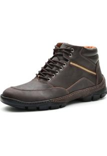 Bota Cano Curto Casual Over Boots Absolut Couro Marrom