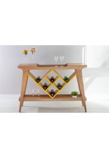 Aparador Adega Gourmet De Madeira Maciça Com Tampo Espelhado Pubi 130X33X90Cm - Verniz Amêndoa E Amarelo