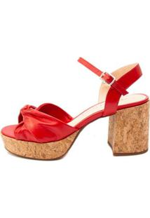 Sandália Plataforma Ferrucci Couro Hibisco Feminino - Feminino