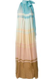 Alberta Ferretti Vestido Longo Degradê - Azul