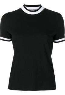 T By Alexander Wang Camiseta Polo Com Detalhe De Listras - Preto