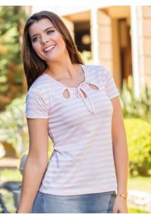 Blusa Listrada Rosa Com Vazados Moda Evangélica